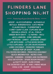 Stores involved in Flinders Lane Shopping Night