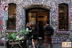 Fiona outside Hoboken Cafe in 2012