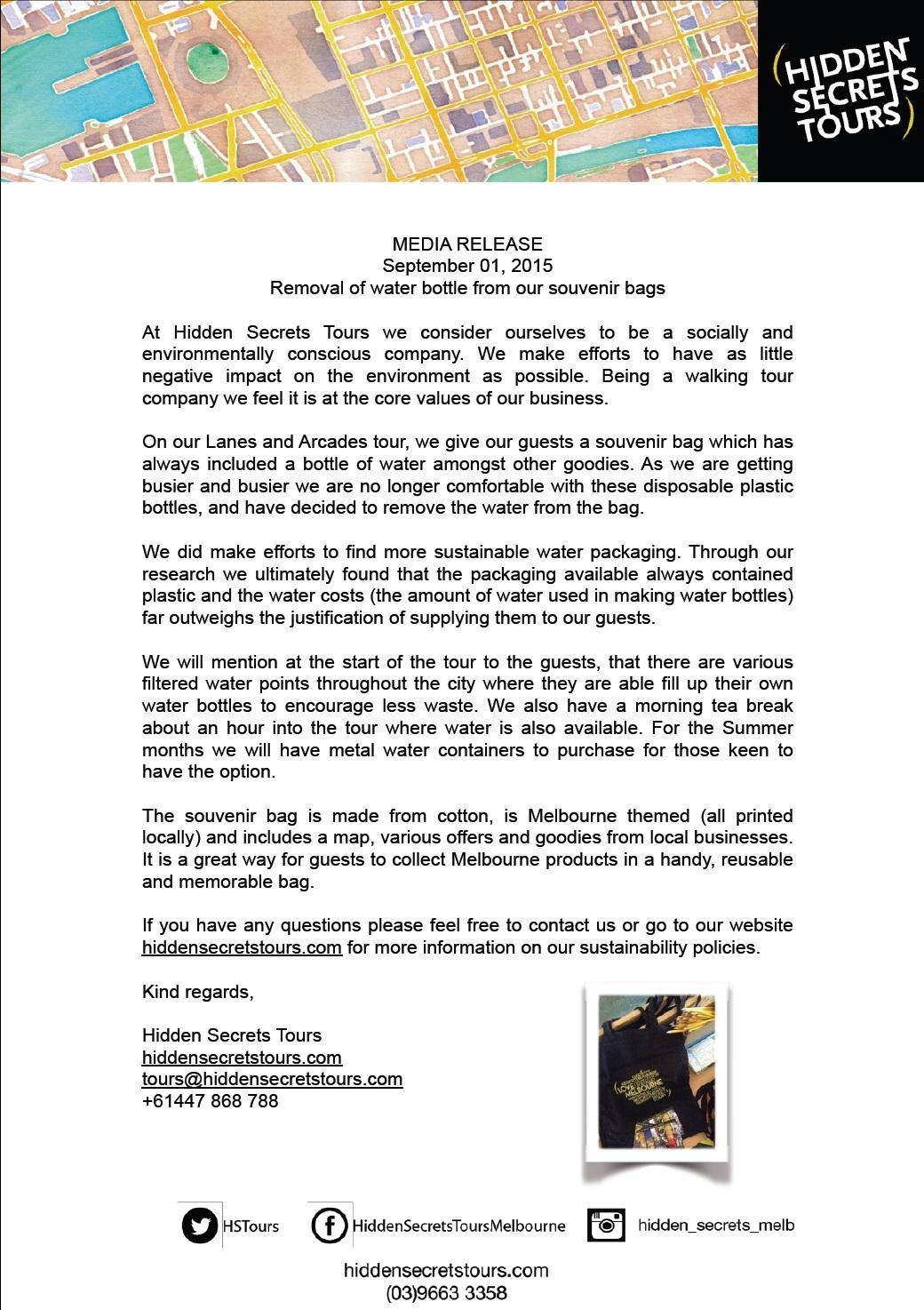 Press Release for Water bottle