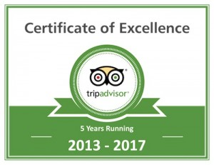 Trip Advisor certificate excellence 2017